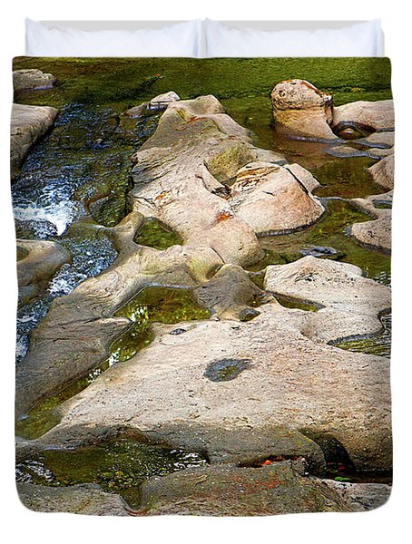 Duvet Cover featuring the photograph Sandstone Creek Bed by Sharon Talson