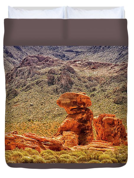 Sandstone Outcrop Valley Of Fire Duvet Cover by Frank Wilson
