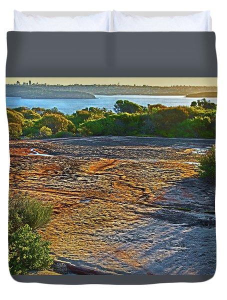 Duvet Cover featuring the photograph Sandstone Platform by Miroslava Jurcik