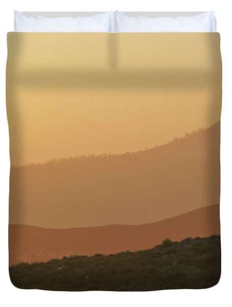 Sandstorm During Sunset On Old Highway Route 80 Duvet Cover by Christine Till