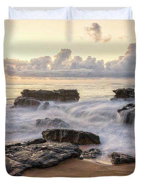 Sandy Beach Sunrise 3 - Oahu Hawaii Duvet Cover by Brian Harig