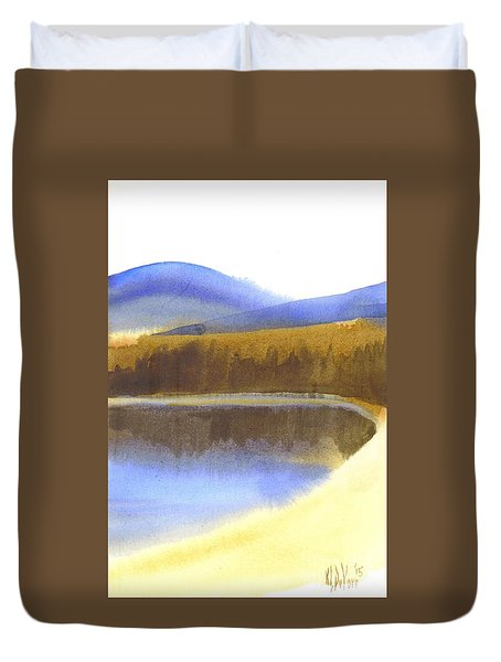 Duvet Cover featuring the painting Sandy Blue Dusky Mountain Lake by Kip DeVore