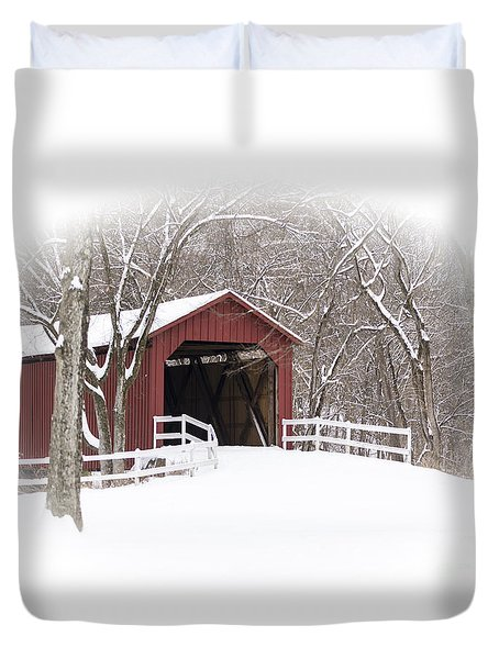 Duvet Cover featuring the photograph Sandy Creek Covered Bridge by Andrea Silies