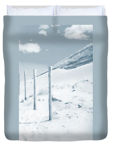 Duvet Cover featuring the photograph Sandy Dunes. Series Ethereal Blue by Jenny Rainbow