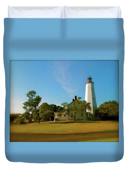 Duvet Cover featuring the photograph Sandy Hook Lighthouse by Iconic Images Art Gallery David Pucciarelli