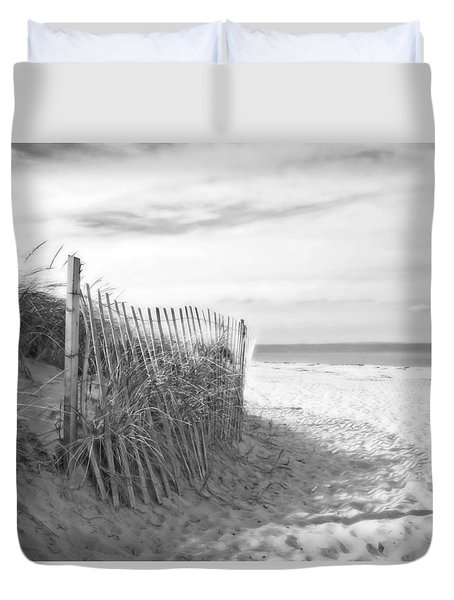 Duvet Cover featuring the photograph Sandy Neck Beach In Black And White by Brooke T Ryan