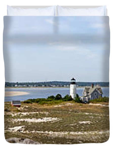 Sandy Neck Lighthouse With Fishing Boat Duvet Cover
