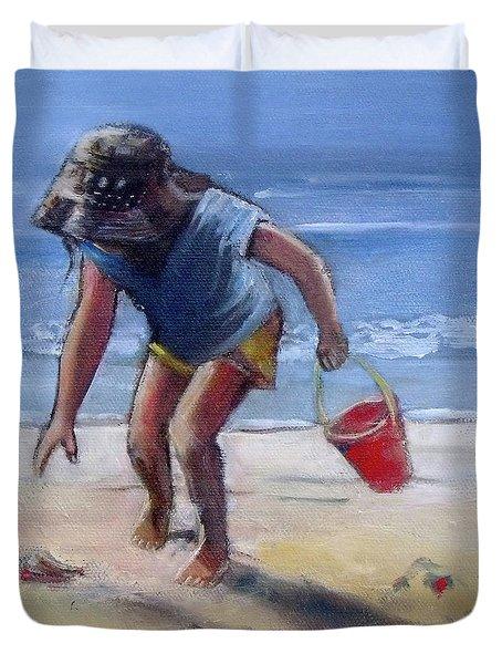 Sandy Seashell Beach Girl Child Seashore Duvet Cover