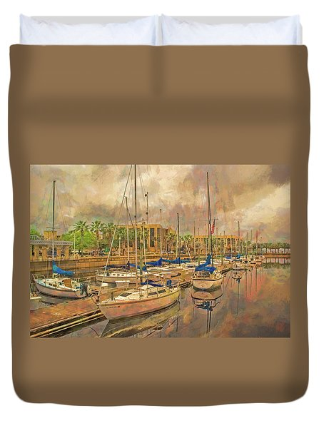Duvet Cover featuring the photograph Sanford Sailboats by Lewis Mann