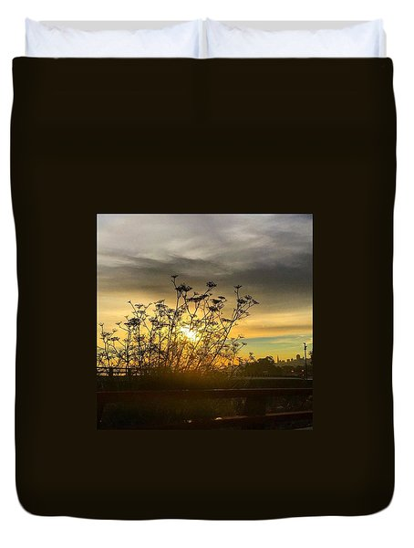 San Francisco Skyline At Sunrise Duvet Cover by Eugene Evon