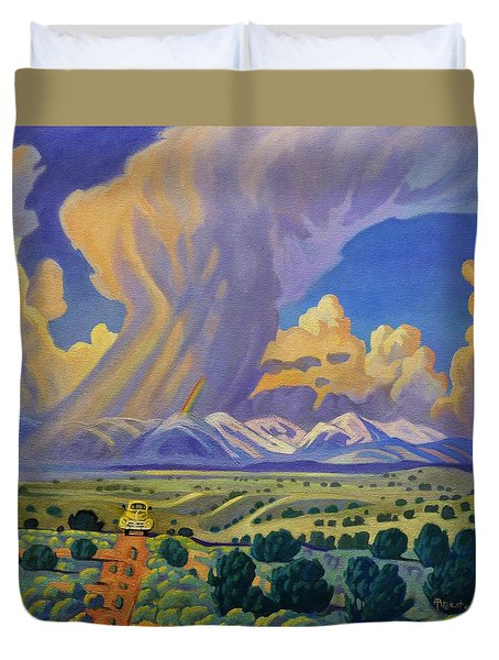 Duvet Cover featuring the painting Sangr De Christo Passage by Art West