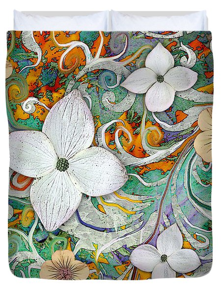 Duvet Cover featuring the mixed media Sangria Flora by Christopher Beikmann