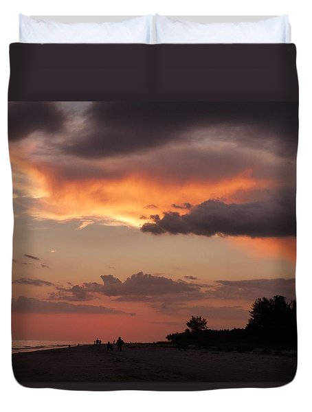 Duvet Cover featuring the photograph Sanibel At Dusk by Melinda Saminski