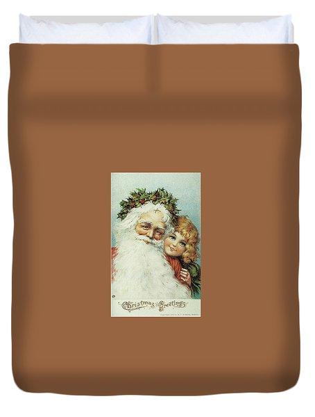 Santa And His Little Admirer Duvet Cover