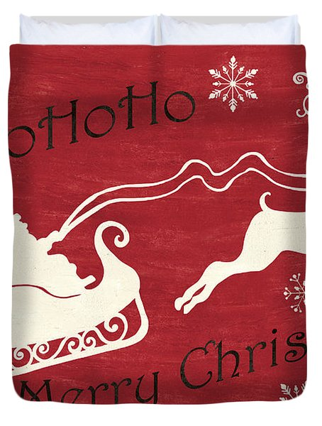 Santa And Reindeer Sleigh Duvet Cover