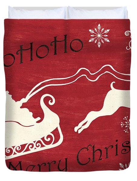 Santa And Reindeer Sleigh Duvet Cover