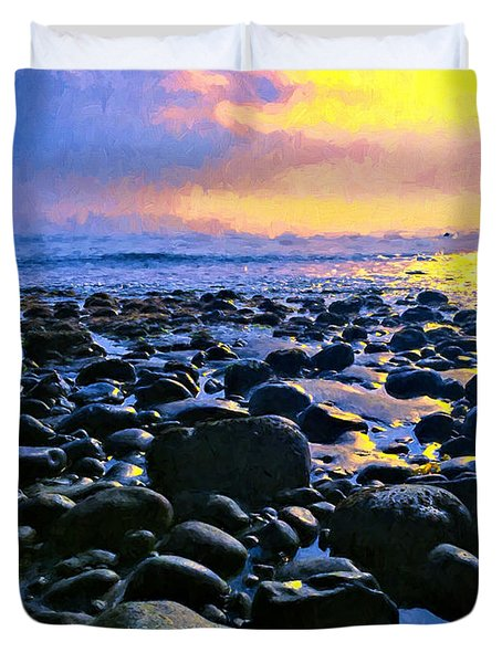 Santa Barbara Beach Sunset California Duvet Cover