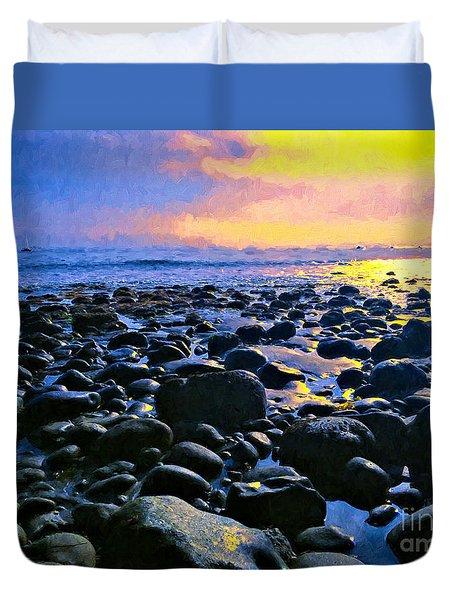 Santa Barbara Beach Sunset California Duvet Cover