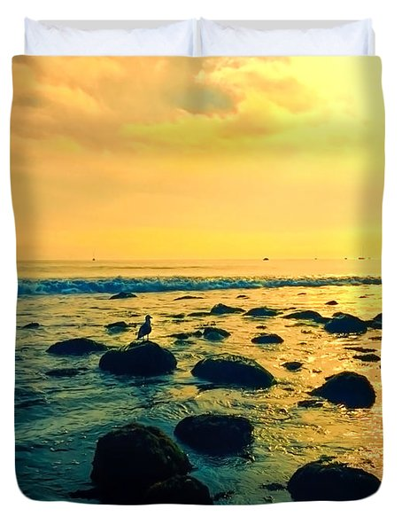 Santa Barbara California Ocean Sunset Duvet Cover
