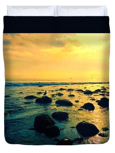 Santa Barbara California Ocean Sunset Duvet Cover