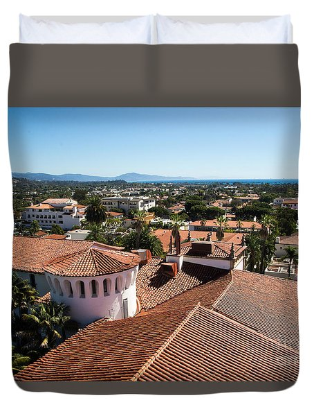 Duvet Cover featuring the photograph Santa Barbara From Above by Suzanne Luft