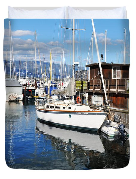 Duvet Cover featuring the photograph Santa Barbara Harbor by Kyle Hanson