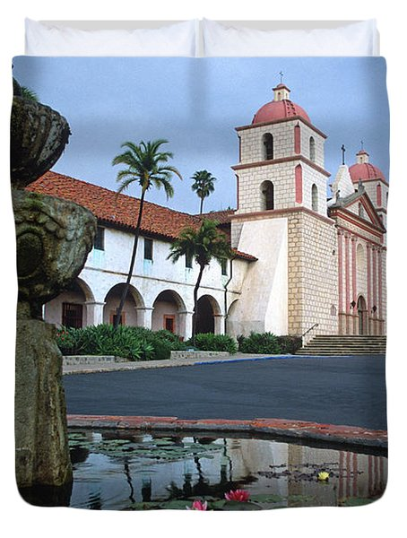 Santa Barbara Mission With Fountain 2 Duvet Cover by Kathy Yates
