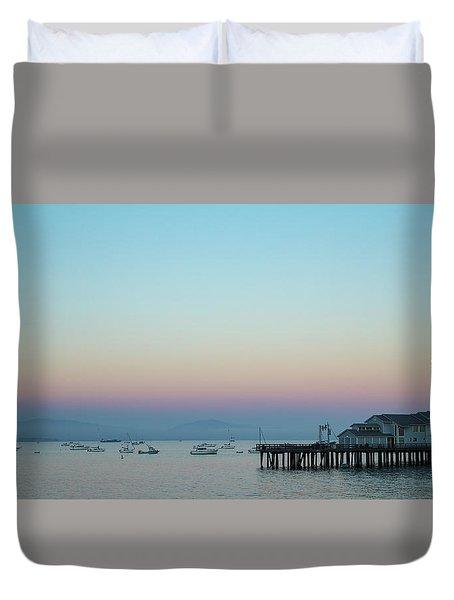 Santa Barbara Pier At Dusk Duvet Cover