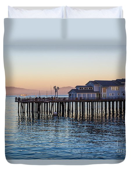 Duvet Cover featuring the photograph Santa Barbara Wharf At Sunset by Suzanne Luft