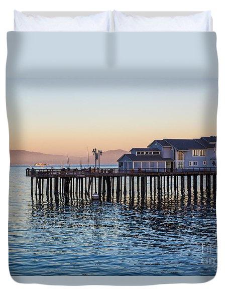 Santa Barbara Wharf At Sunset Duvet Cover