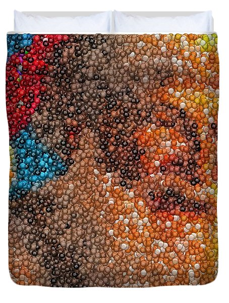 Duvet Cover featuring the mixed media Santa Claus Mm Candy Mosaic by Paul Van Scott