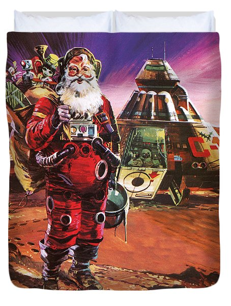 Santa Claus On Mars Duvet Cover by English School