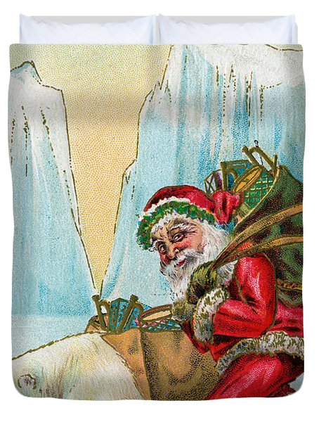 Santa Claus With A Polar Bear At The North Pole Duvet Cover