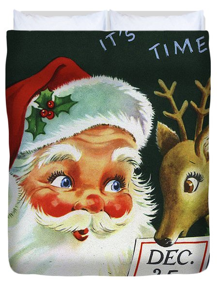 Santa Claus With His Deer On 25th. December Duvet Cover