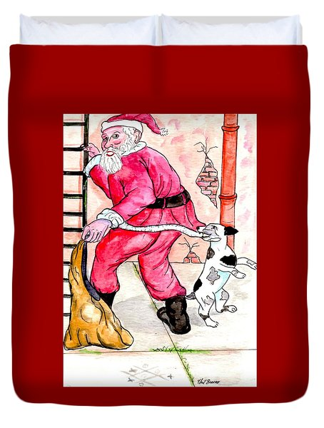 Santa Climbs The Ladder Duvet Cover by Philip Bracco