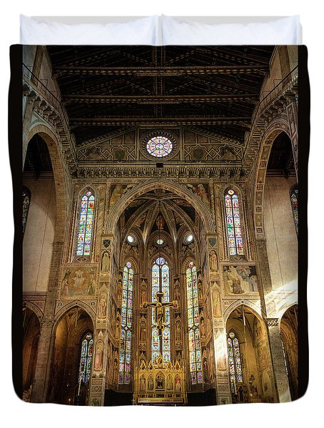 Duvet Cover featuring the photograph Santa Croce Florence Italy by Joan Carroll