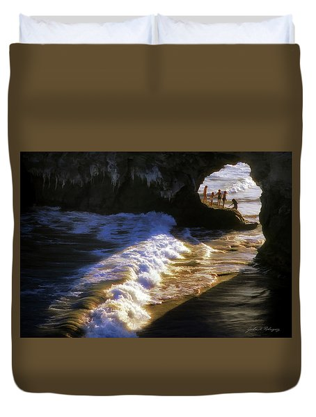 Santa Cruz 'bridge' California Coastline Duvet Cover