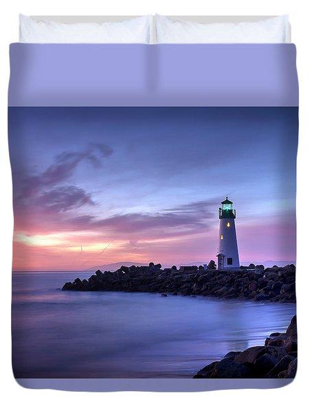 Santa Cruz Harbor Mouth Sunrise Duvet Cover