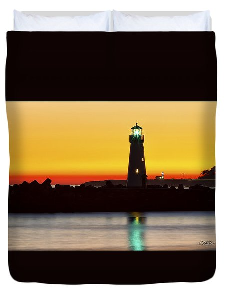 Santa Cruz Lighthouses Duvet Cover