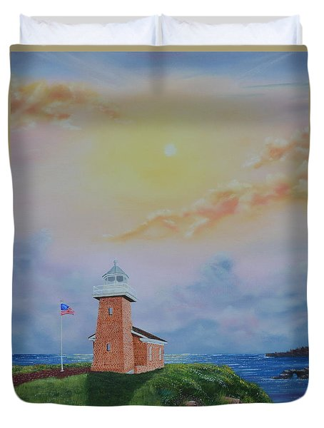 Duvet Cover featuring the painting Santa Cruz Sunset by Mary Scott