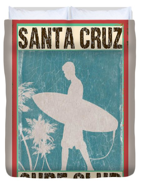 Duvet Cover featuring the digital art Santa Cruz Surf Club by Greg Sharpe