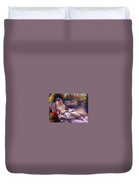 Duvet Cover featuring the painting Santa Fe Garden 1 by Donelli  DiMaria