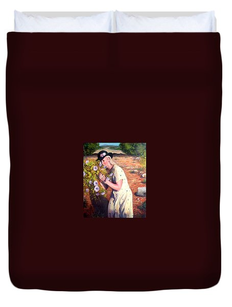 Duvet Cover featuring the painting Santa Fe Garden 2   by Donelli  DiMaria