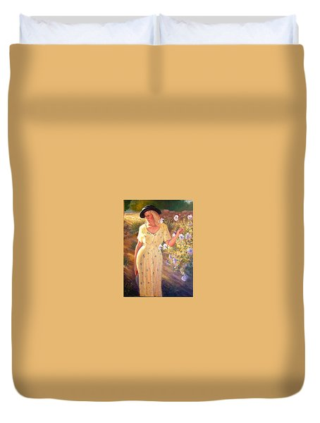 Duvet Cover featuring the painting Santa Fe Garden 3   by Donelli  DiMaria