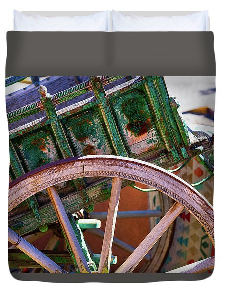 Duvet Cover featuring the photograph Santa Fe Spokes by Stephen Anderson