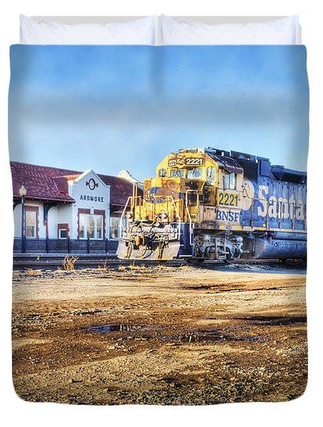 Santa Fe Train In Ardmore Duvet Cover by Tamyra Ayles