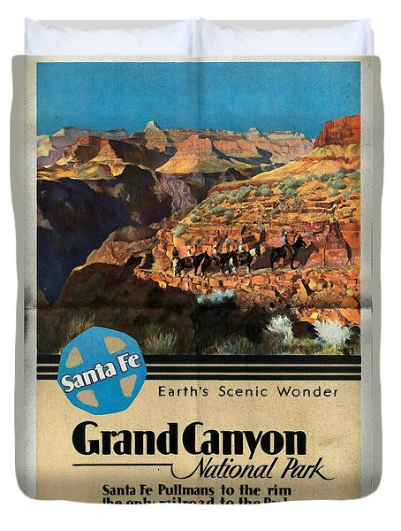 Santa Fe Train To Grand Canyon - Vintage Poster Folded Duvet Cover