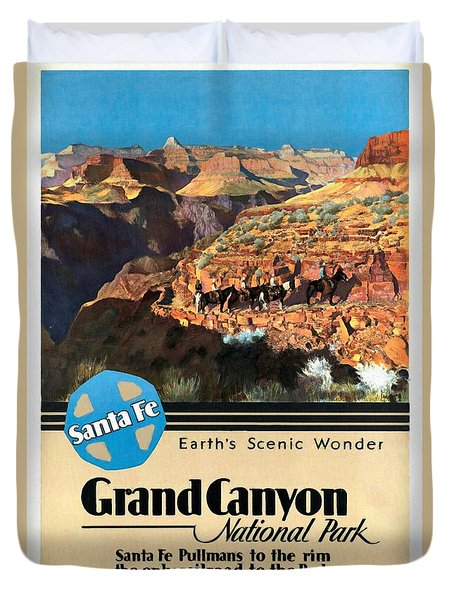 Santa Fe Train To Grand Canyon - Vintage Poster Restored Duvet Cover