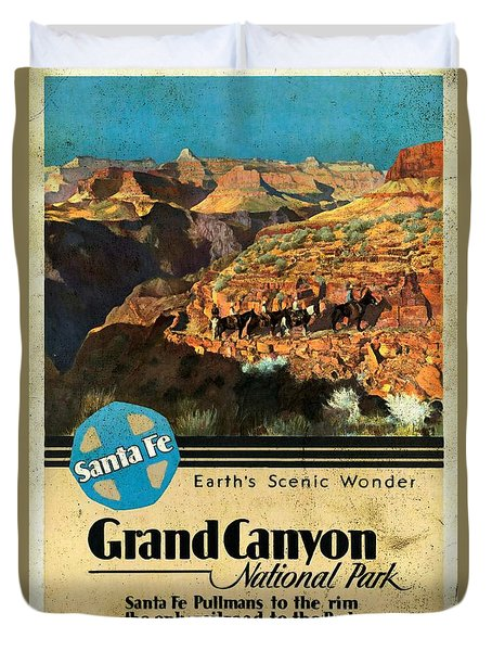 Santa Fe Train To Grand Canyon - Vintage Poster Vintagelized Duvet Cover
