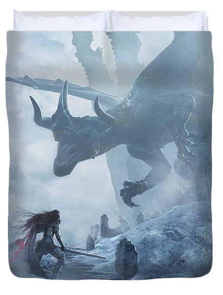 Santa Georgina Vs The Dragon Duvet Cover
